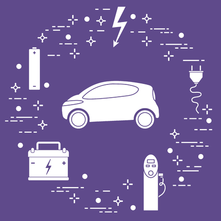 Electric car, battery, charging station, electrical safety sign, cable, electrical plug. New transport eco technologies.