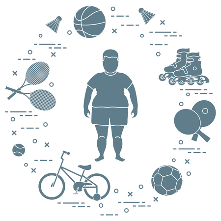 Fat boy, badminton rackets and shuttlecocks, football and basketball balls, rackets and balls for table tennis, kids bicycle, rollers. Sports and healthy lifestyle from childhood. Stockfoto - 102884327