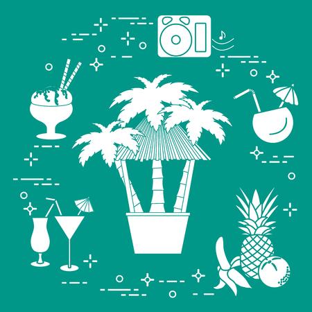 Bar on the beach, palm trees, cocktails, ice cream, music speakers, banana, pineapple, orange. Ilustrace