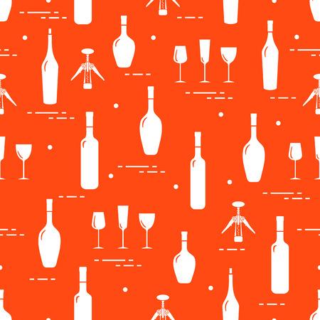 Seamless pattern of wine glasses, corkscrew, bottles of wine. Wine-making. Tasting. Sommelier. Illustration