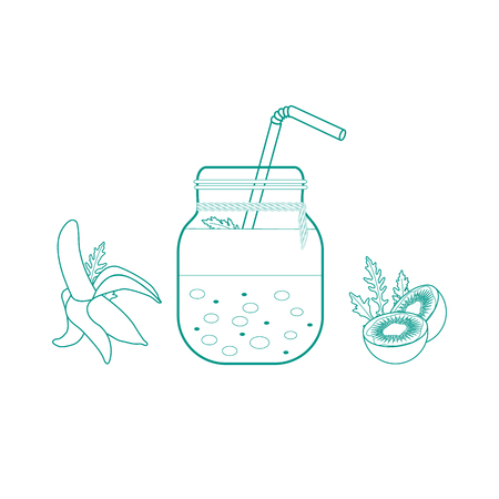 Jar with smoothies and ingredients for making smoothie. Healthy eating habits. Easy cooking process.