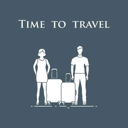 Man and woman with suitcases. Time to travel. Summer time, vacation. Leisure logo.