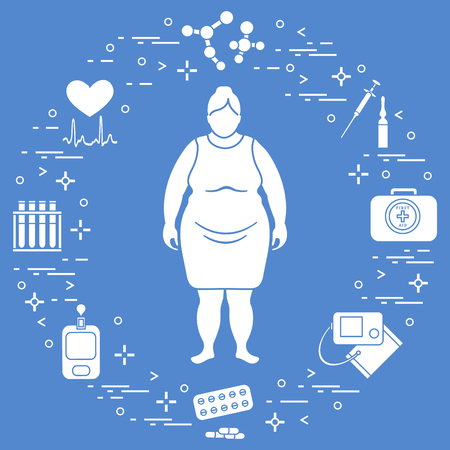 Fat woman, medical devices, tools and medicines. Health and treatment. Illustration