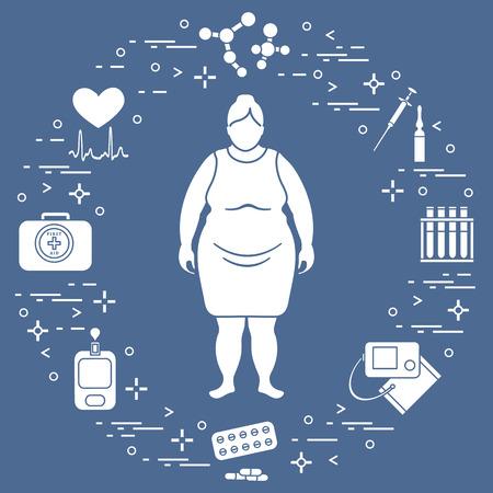 Mujer gorda, dispositivos médicos, herramientas y medicamentos. Salud y tratamiento.