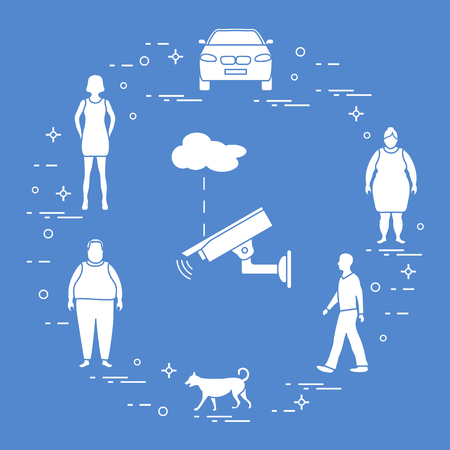 Security camera and woman, girl, men, dog, car. Protection of private property. Detection of offenses and ensuring the safety of driving.