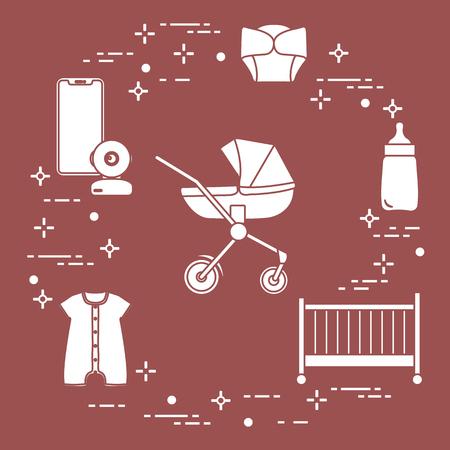 Goods for babies. Stroller, crib, baby monitor, bottle, waterproof panties, overalls. Illustration