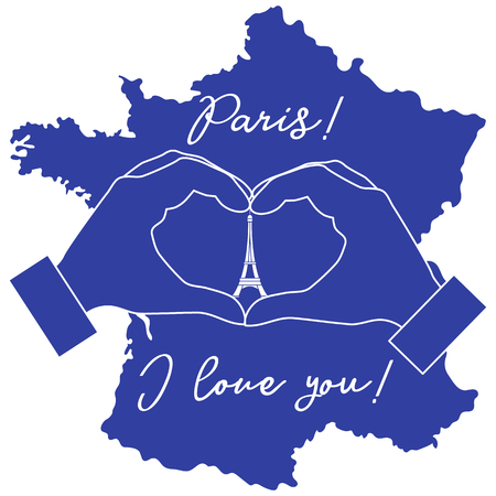 Hand making a heart shape. Tower, symbol of Paris. The inscription Paris I love you. Travel and leisure.