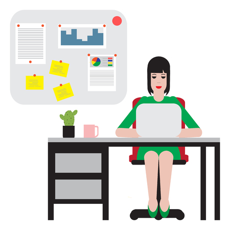 Woman sitting at table and working on laptop. Workspace.
