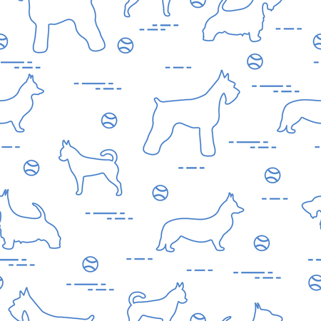 Seamless pattern with dogs and tennis balls. Game of pet.