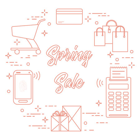 Shopping cart, payment terminal, bank card, packages, boxes, phone. Spring sale. Shopping icons. Vectores