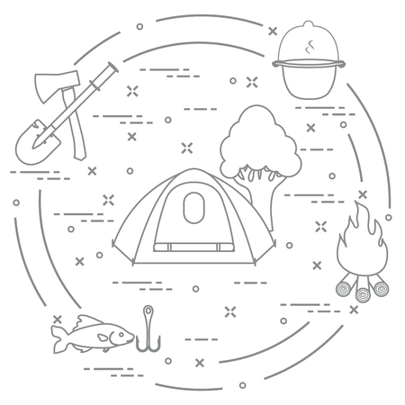 Tourism and outdoor recreation. Tourist tent, kettle, fire, ax, firewood, shovel, tree, fish, hook.
