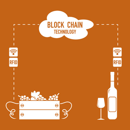 Blockchain. RFID technology. Winemaking from the collection of grapes to wine tasting. 일러스트