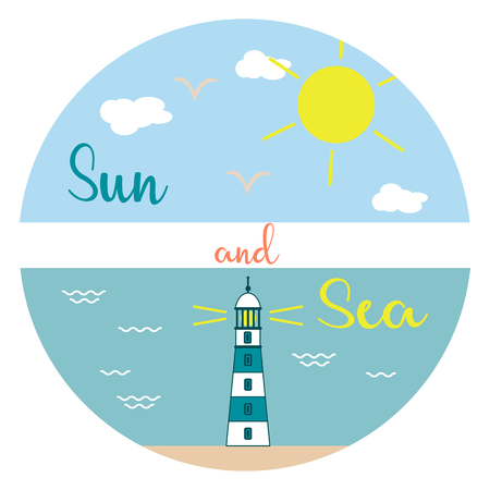 Sun, clouds, birds, sea, waves, beach, lighthouse. Template for design, print.