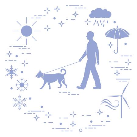 Man walking a dog on a leash in any weather. Sun, cloud, rain, umbrella, snowflakes, wind,  wind generator.