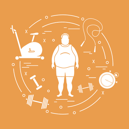 Fat man and different sports equipment. Healthy lifestyle. Exercise bike, skipping rope, stopwatch, dumbbells.