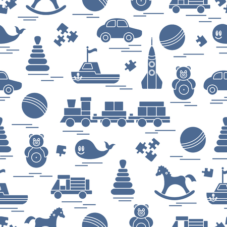 Seamless pattern with kids toys. Train, cars, balls, rocking horse, roly-poly, whale, puzzles, pyramid, boat. Illustration