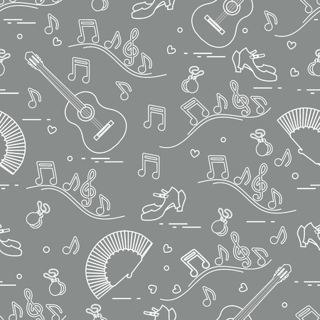 Seamless pattern with fan, shoes, castanets, notes, guitars. Travel and leisure. Traditional symbols of Spain. Banque d'images - 115213891