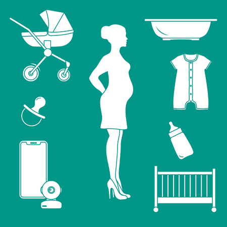 Pregnant woman and goods for babies. Stroller, crib, baby monitor, bottle, pacifier, bath for children, overalls. Illustration