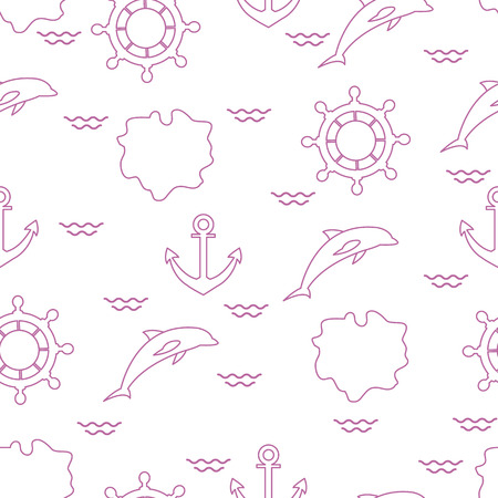 Seamless pattern with dolphins, anchors, steering wheels, waves, islands. Summer leisure.