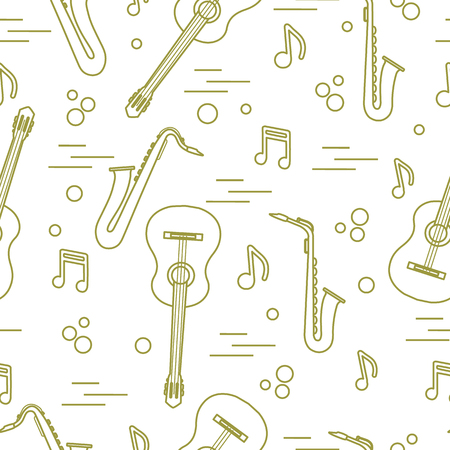Seamless pattern with saxophones, notes, guitars. Musical instruments.