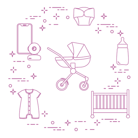 Goods for babies. Stroller, crib, baby monitor, bottle, waterproof panties, overalls. Illustration