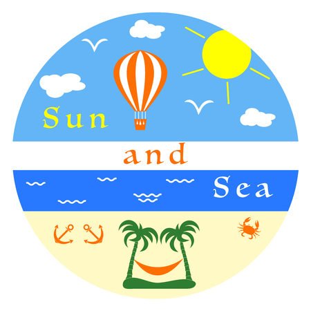 Sun, clouds, birds, sea, waves, beach, air balloon, anchors, crab, palms, hammock. Illustration