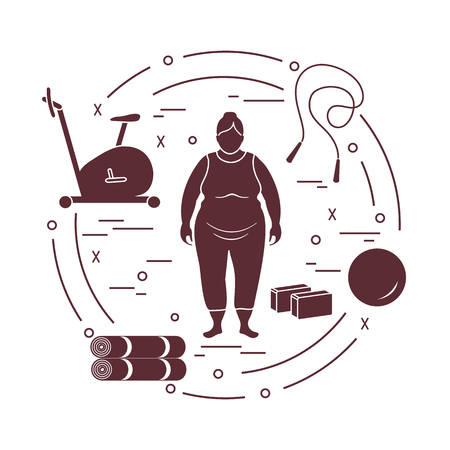 Fat woman and different sports equipment. Healthy lifestyle. Exercise bike, skipping rope, fitball, yoga bricks and mat. Ilustracja