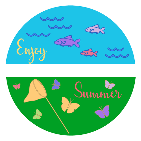 Sea, waves, fish, grass, net, butterflies. Summer rest. Template for design, print.