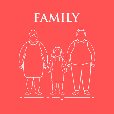 Family. Mom, dad and daughter. Couple with a child. Vetores