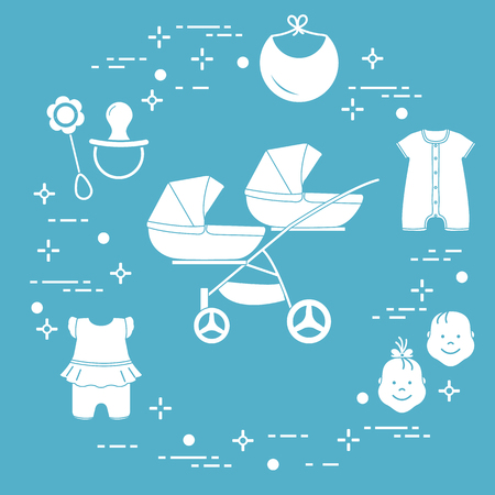 Goods for babies. Stroller for twins, faces boy, girl, rattle, pacifier, bib, overalls. 免版税图像 - 115201795