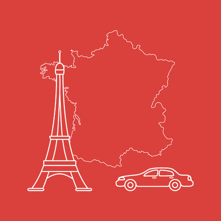 Map of France, famous tower of Paris, car. Travel and leisure.