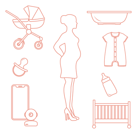 Pregnant woman and goods for babies. Stroller, crib, baby monitor, bottle, pacifier, bath for children, overalls.