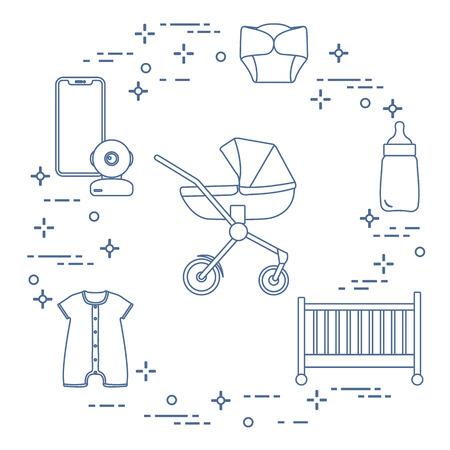 Goods for babies. Stroller, crib, baby monitor, bottle, waterproof panties, overalls. 일러스트