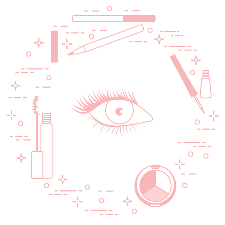 Eye makeup. Decorative cosmetics. Glamour fashion vogue style. Vectores