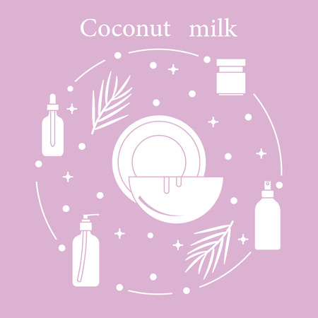 Coconut milk for cosmetics and care products. Glamour fashion vogue style. Banco de Imagens - 103521049