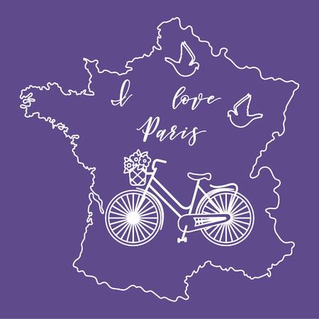 Kaart van Frankrijk, fiets met een mand met bloemen, duiven. Reizen en vrije tijd.