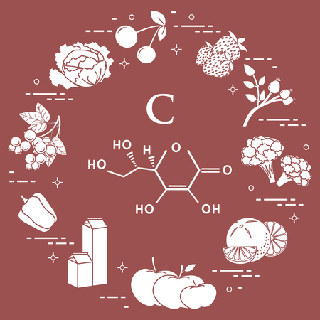 Foods rich in vitamin C. Cherry, strawberry, dog rose, cauliflower, orange, apples, milk, dairy products, sweet pepper, black currant, cabbage.