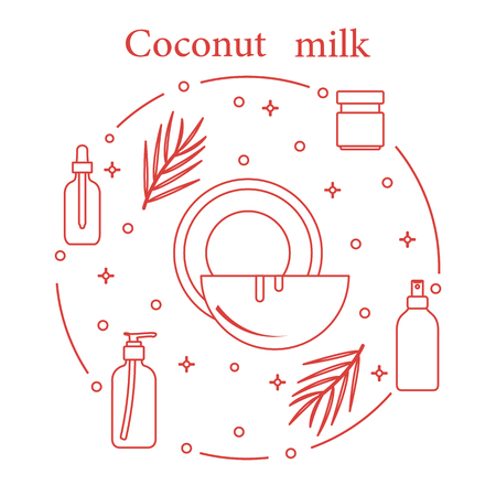 Coconut milk for cosmetics and care products. Glamour fashion vogue style. Banco de Imagens - 103682813