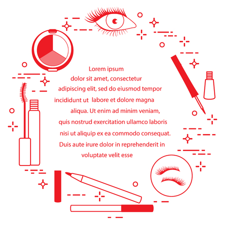 Eye makeup. Decorative cosmetics. Glamour fashion vogue style. Ilustrace