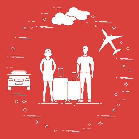 Man and woman with suitcases, plane, cloud, car. Summer time, vacation. Leisure.