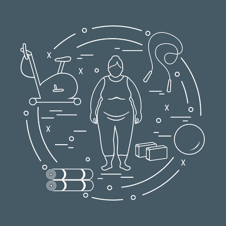 Fat woman and different sports equipment. Healthy lifestyle. Exercise bike, skipping rope, fitball, yoga bricks and mat. Ilustrace