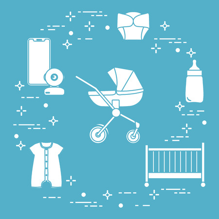 Goods for babies. Stroller, crib, baby monitor, bottle, waterproof panties, overalls.  イラスト・ベクター素材