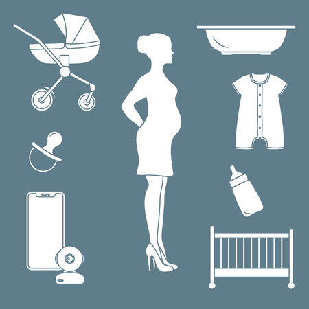 Pregnant woman and goods for babies. Stroller, crib, baby monitor, bottle, pacifier, bath for children, overalls. Çizim