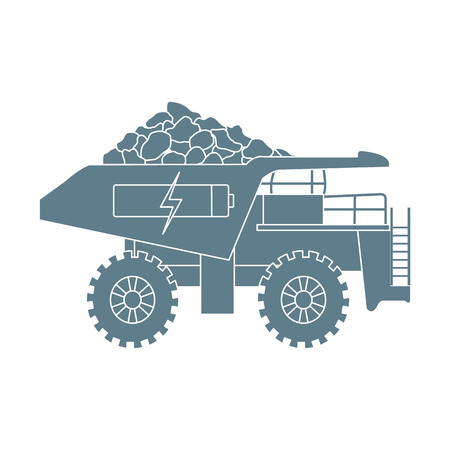 Electric dumper with ore, battery, charge symbol. New transport eco technologies.