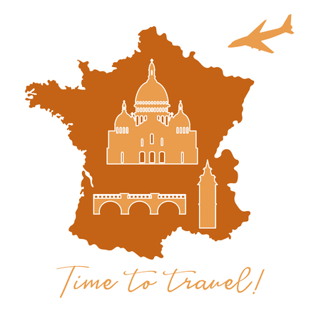 Map of France, bridge, tower, basilica, plane. Travel and leisure.