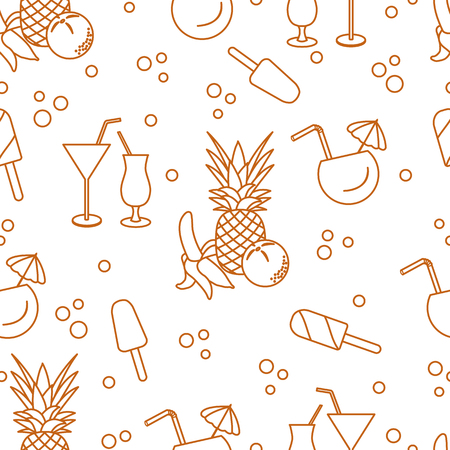 Seamless pattern with cocktails, ice cream, pineapple, orange, banana. Summer rest concept.
