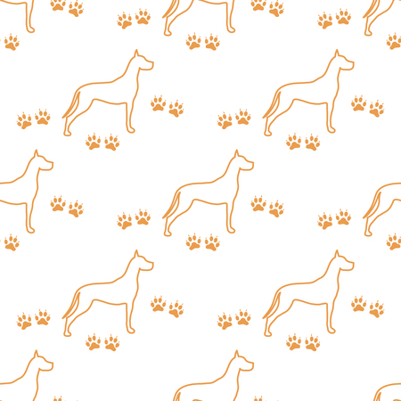 Seamless pattern with dog and dog tracks. Animal pattern. Illusztráció