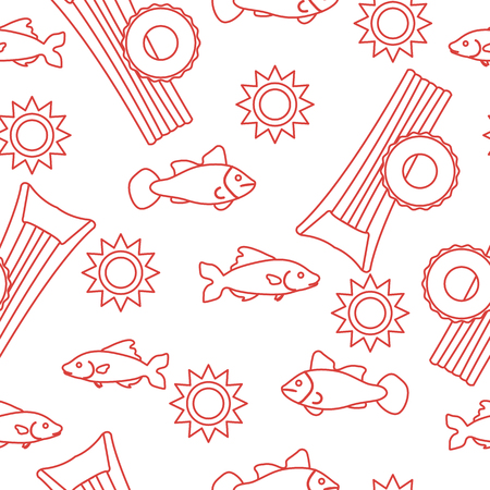 Seamless pattern with inflatable mattress, inflatable circle. Summer leisure. Vektorové ilustrace