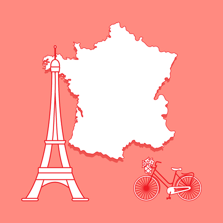 Map of France, famous tower of Paris, bicycle with a basket of flowers. Travel and leisure. Stock Photo