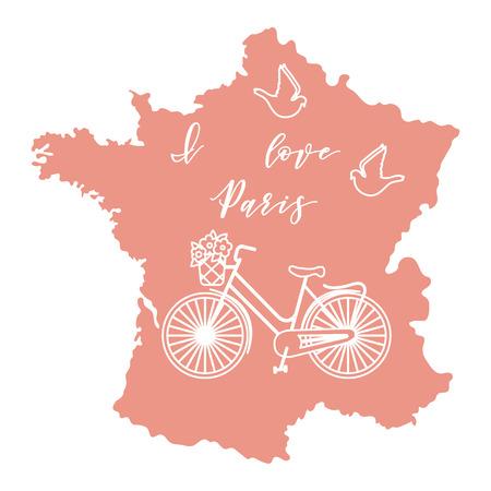 Kaart van Frankrijk, fiets met een mand met bloemen, duiven. Reizen en vrije tijd concept illustratie.